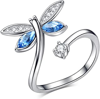 Blue Dragonfly 925 Sterling Silver Rings for Women Girls, Swarovski Element Adjustable Open Wrap Rings Light Sapphire Jewelry Gift for Mom Girlfriend Grandma (Dragonfly Ring)