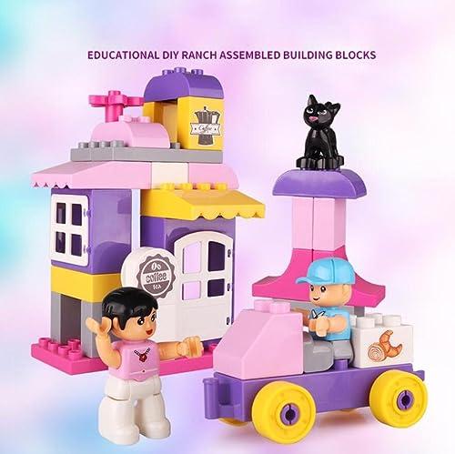 AN-LKYIQI Kinder montiert neue Rosa Bausteine Spielzeug Puzzle 38 Größe Partikel home Szene Kunststoff Material Bausteine