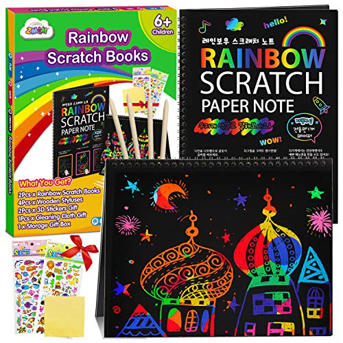 ZMLM Scratch Paper Art Notebooks  Rainbow Scratch Off Art Set for Kids Activity Color Book Pad Black Magic Art Craft Supplies Kits for Girls Boys Birthday Party Favor Game Christmas Toys Gift