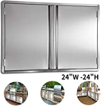 CIOGO BBQ Access Door 24x24 Inch Double Wall Outdoor Kitchen Door, 304 All Brushed Stainless Steel Double BBQ Door for BBQ Island, Outside Cabinet, Barbecue Grill ,Outdoor Kitchen