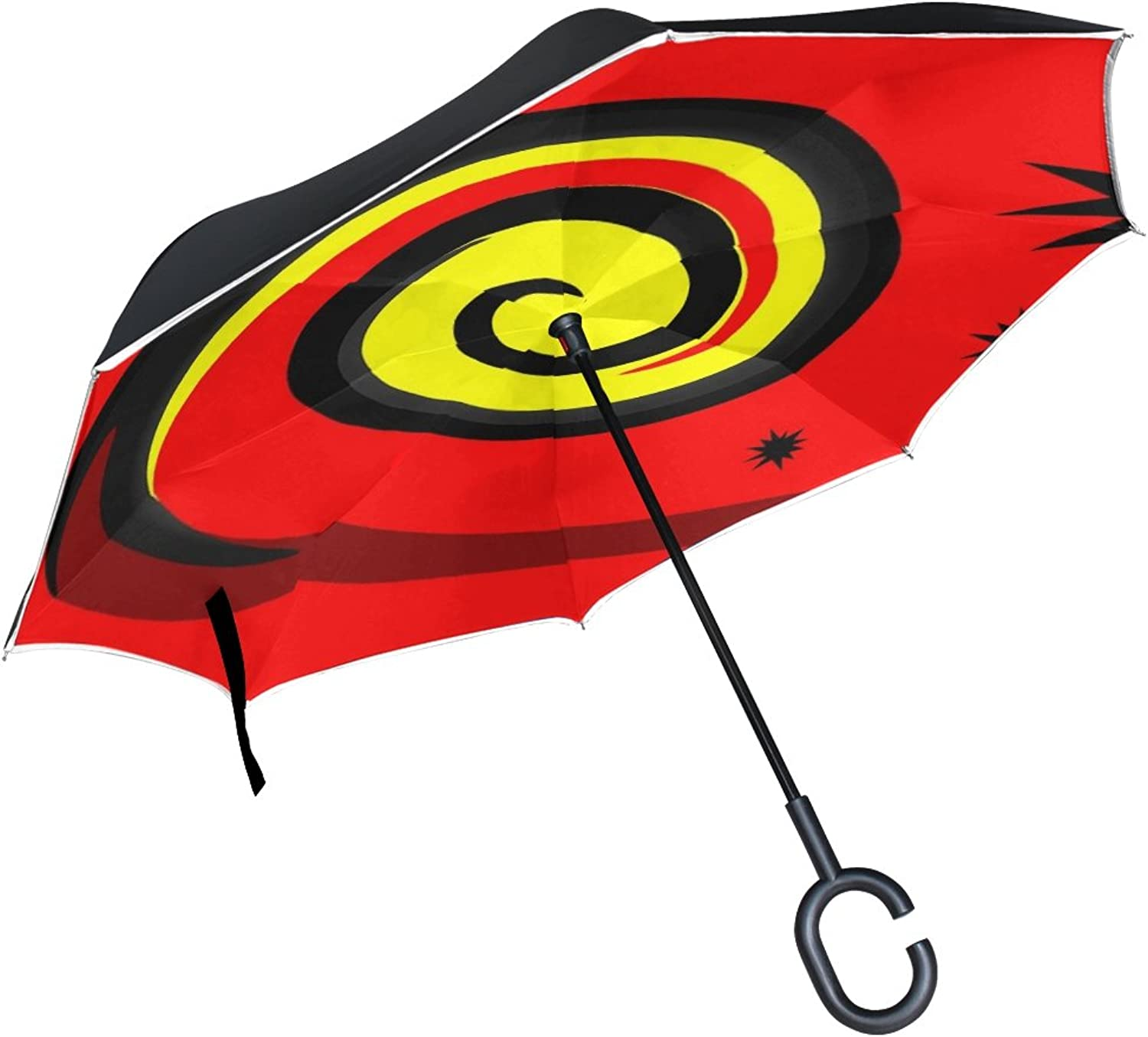 Double Layer Ingreened Spiral Abstract Pattern colorful Umbrellas Reverse Folding Umbrella Windproof Uv Predection Big Straight Umbrella for Car Rain Outdoor with CShaped Handle