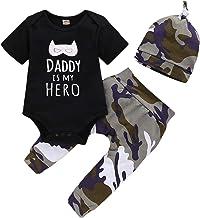 Anywow Newborn - Conjunto de ropa unisex para bebé, 3 piezas, con letras, manga larga, pantalón de camuflaje + sombrero con texto