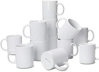 پرسلن 12 قطعه AmazonCommercial ، 10 اونس. ست لیوان قهوه Gourmet ، سفید