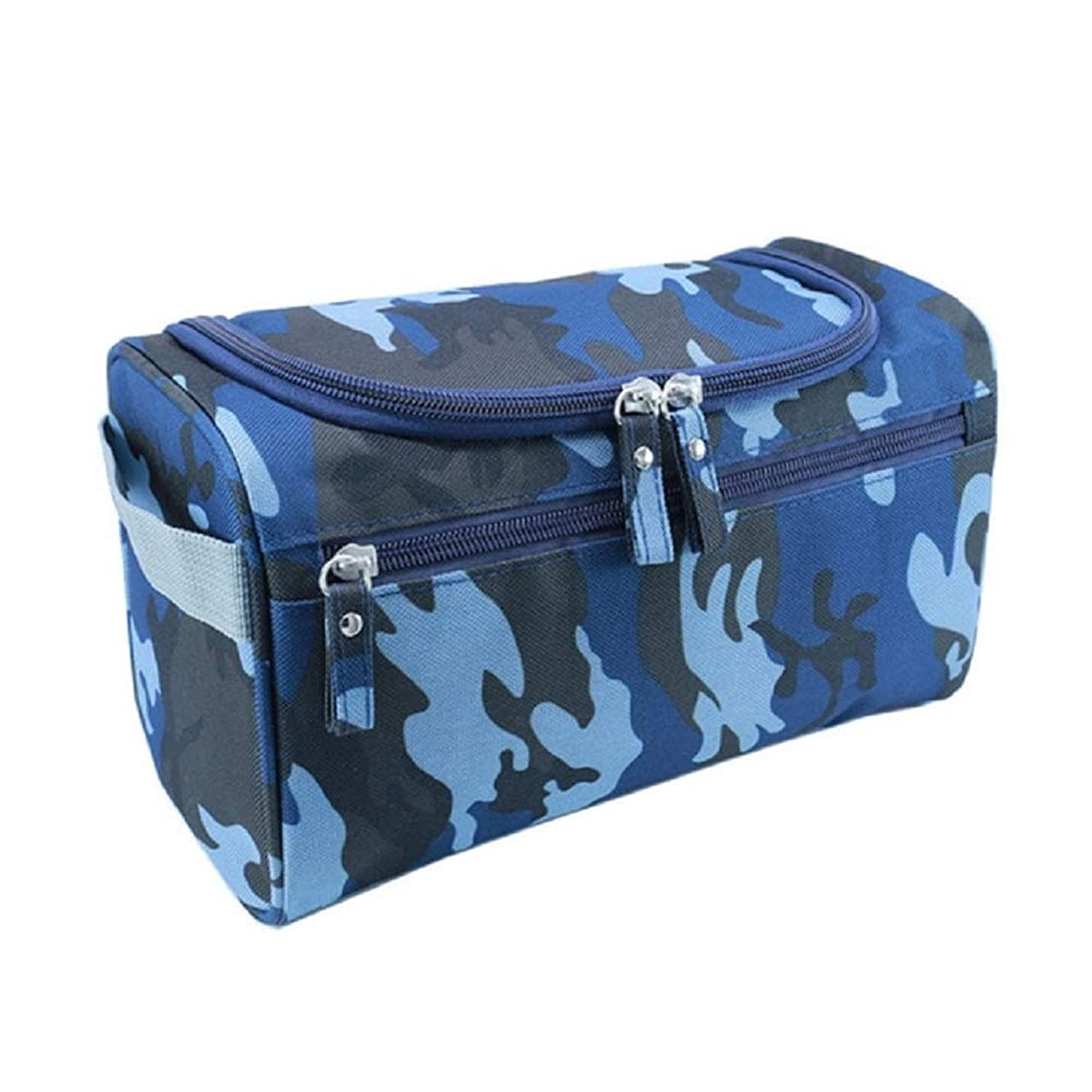 Hanging Toiletry Bag Nylon Travel Organizer Cosmetic Bag For Women Large Necessaries Make Up Case Wash Makeup Bag (Navy CamouFlage)