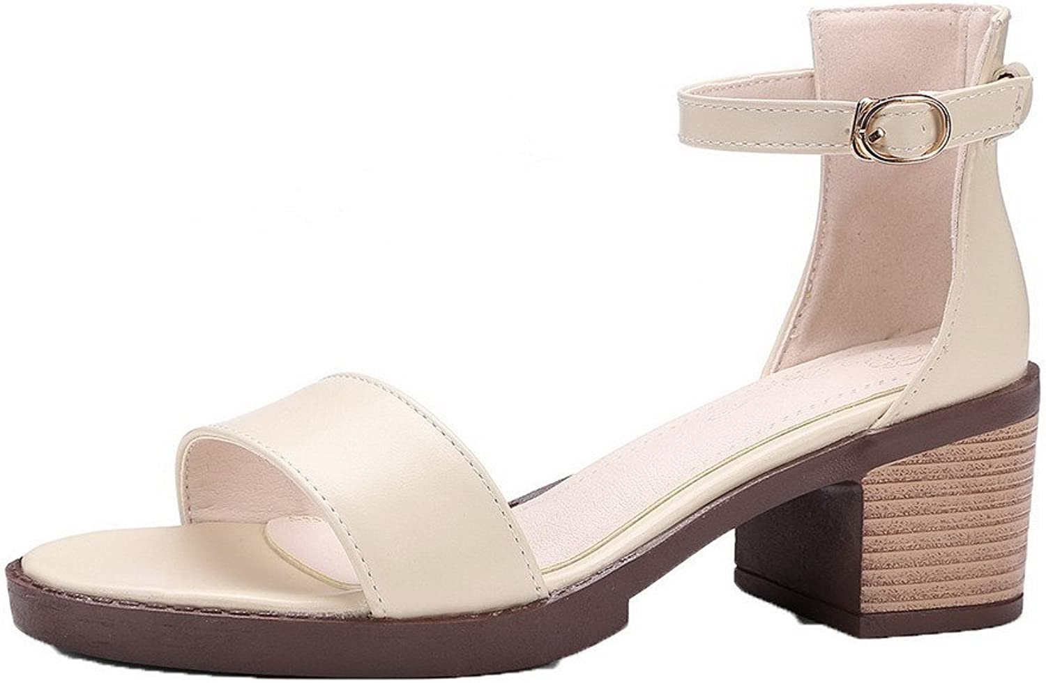 WeiPoot Women's Open-Toe Kitten-Heels PU Solid Buckle Sandals, EGHLH005606