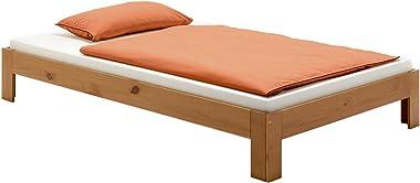 IDIMEX Lit futon Thomas Couchage Simple 120 x 200 cm 1 Place et Demi / 1 Personne, en pin Massif lasuré Couleur Campagne