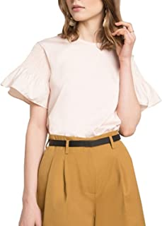 HaoDuoYi Women's Casual Solid Crew Neck Butterfly Sleeve Pleated Top Blouse