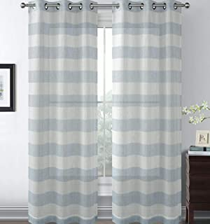 GoodGram 2 Pack Semi Sheer Rugby Metallic Sheen Striped Grommet Top Window Curtains - Assorted Colors (Blue, 84 in. Long)