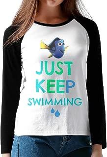 CuteBee Finding Fish Just Keep Swimming Women's Long Sleeve Raglan T Shirts Black