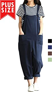 Women Plus Size Overalls Cotton Wide Leg Jumpsuits...