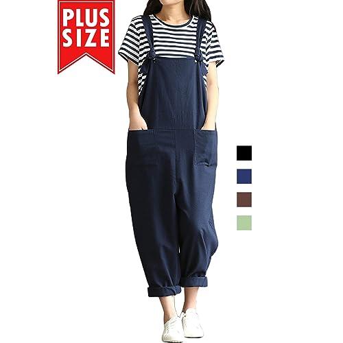 5e2cb748df49 Women Plus Size Overalls Cotton Wide Leg Jumpsuits Vintage Baggy Pants  Casual Rompers