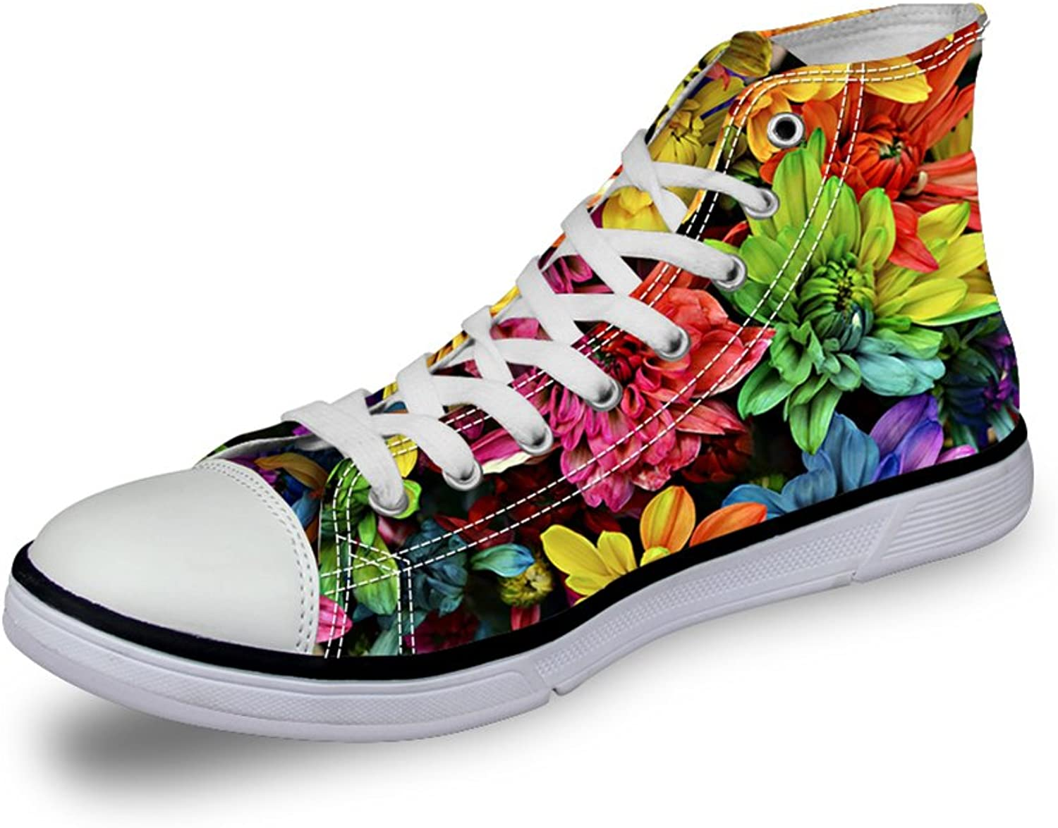 Chaqlin Women Ladies Floral Design Funky Hi-Top Canvas Senakers Casual shoes