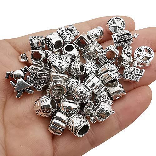 55 piezas de aleación variada europea de gran agujero de metal espaciador encantos surtidos de cuentas para manualidades DIY pulseras collares..
