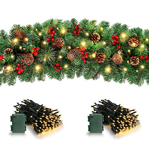 DoreenBow Christmas Lighted Garland,Christmas Artificial Garland with Lights,Christmas Decorations,Indoor Outdoor Christmas Garland,for Hung Anywhere in The House Christmas