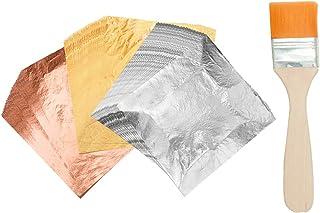 VGSEBA Imitation Gold Leaf Gilding 100pcs Gold Leaf Silver Foil Rose Gold Sheets for Gilding Furniture, Painting Arts, Cra...