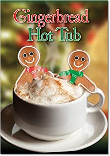 12 'Gingerbread Jacuzzi' Boxed Christmas Cards with Envelopes 4.63 x 6.75 inch, Funny Gingerbread Man Cookies in Hot Cocoa Holiday Notes, Hilarious Christmas Stationery B5938