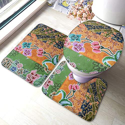 Thai Fabric Woven Batik Pattern Bathroom Rugs Set Bath Rug Non Slip Bath Mat Contour Mats Soft For Tub Shower Bathroom 3 Pieces