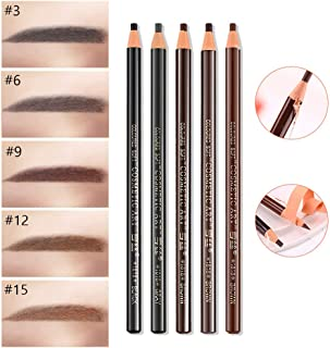 Amareu 12 Pcs Waterproof Eyebrow Pencils In 5 Colors Peel Off Pull Cord Brow Pen Kit Permanent Eye Brow Makeup