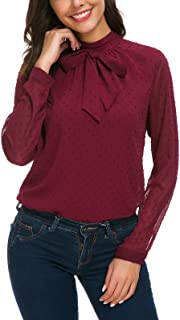 ACONIYA Womens Bow Tie Neck Long/Short Sleeve Blouse Office Work Chiffon Elegant Casual Shirt Tops