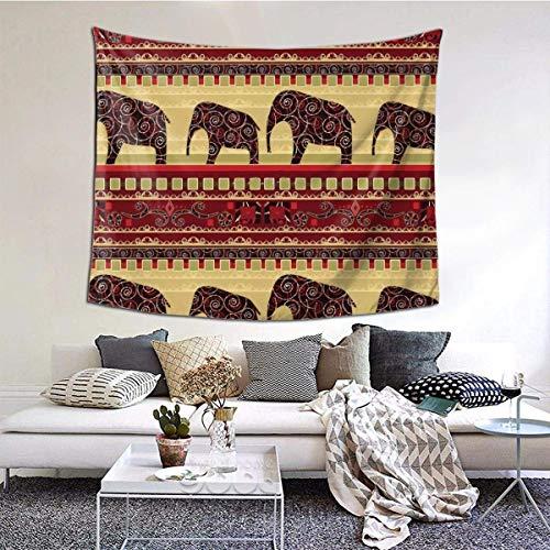 Qian Mu888 Afrikanischer Druck mit Elefanten, Wandbehang, Wandkunst, perfekte Dekorationen, Schlafzimmer, Wohnzimmer,...