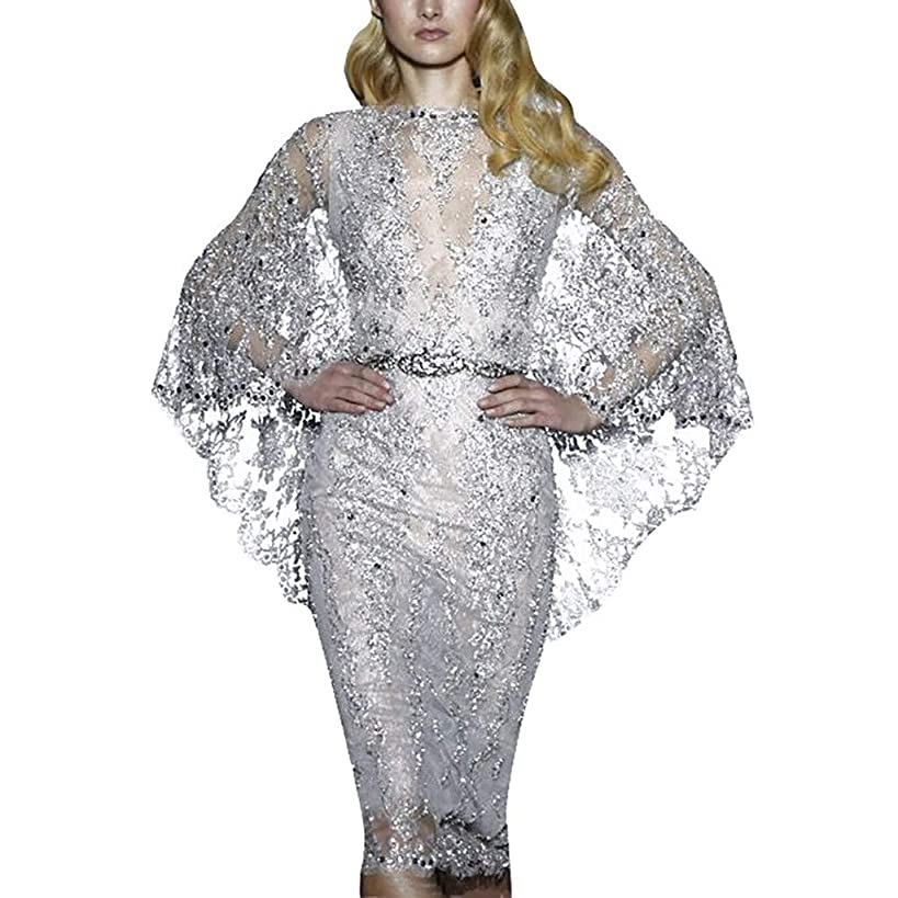 Alluing Open Back Wedding Dress Women Sexy Lace Sequin Solid Long Sleeve Back Hollow Party Elegant Gown Dress