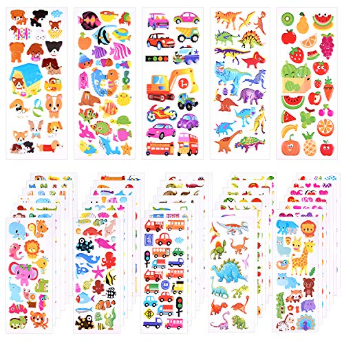 KUUQA 1000+Pcs 3D Stickers for Toddlers Puffy Stickers Random Craft Stickers for Kids Scrapbooking Bullet Journals (40 Sheets)