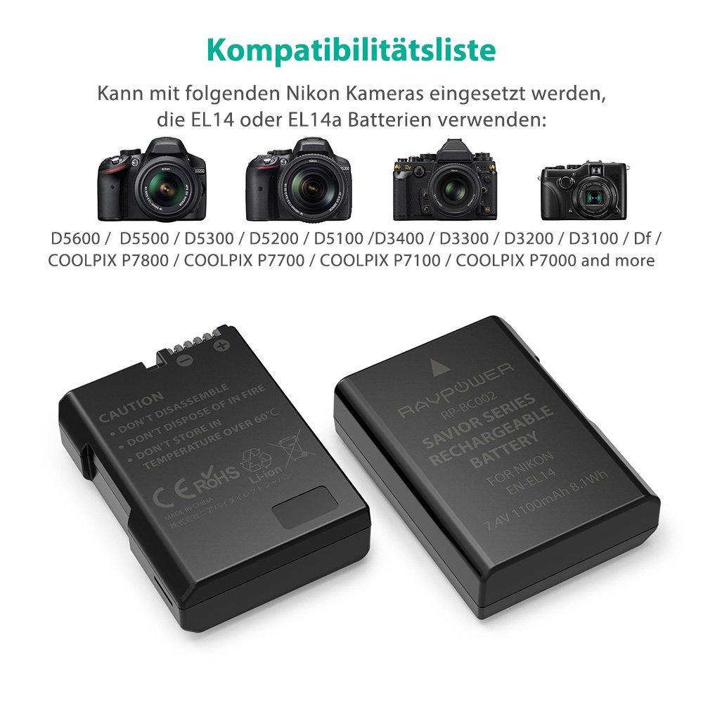 RAVPower Cámara Baterías EN-EL14 EN-EL14 a para Nikon D5100/D5300/D5500/D3100/d5600/D3200/d3300/D5200/P7000/P7100/P7700/P7800, etc, de 2 Pack 1100 mAh batería Set de Carga: Amazon.es: Electrónica