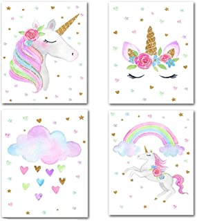 ZAONE Unicorn Pictures Wall Decor, Set of 4 Unicorn Paintings Wall Art Prints for Kids Bedroom Nursery Decor, Unicorn Poster Gifts for Girls Bedroom Decorations. Unframed (8.27