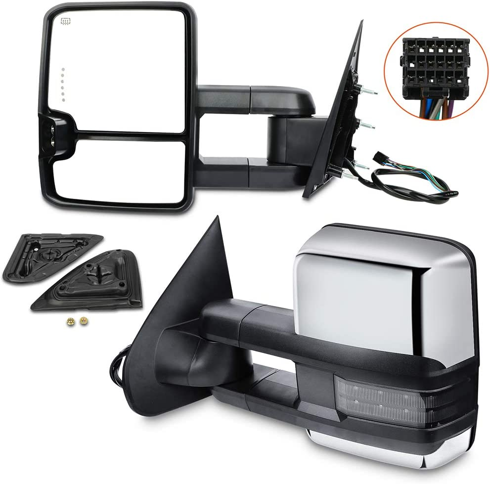 mart LUJUNTEC Towing Mirrors Compatible for Direct stock discount 2014-2018 1500 Chevy GMC
