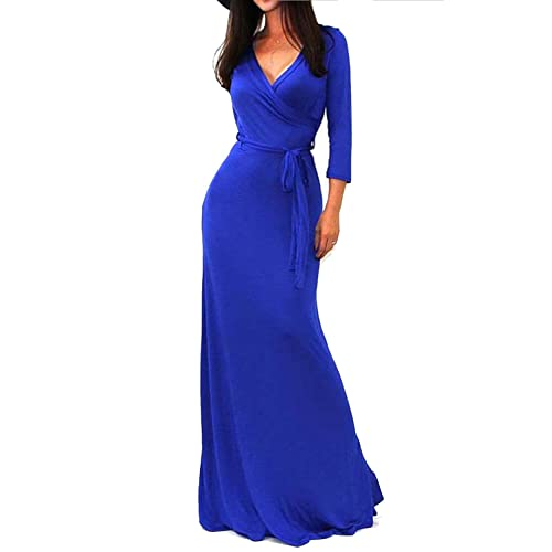1d869aaa490f Vivicastle Women s USA Solid V-Neck 3 4 Sleeve Faux Wrap Waist Long Maxi