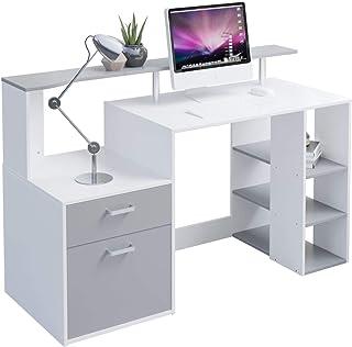 Hadwin Bureau d'ordinateur pour la maison, bureau en bois avec tiroirs et étagères de rangement - Station de travail