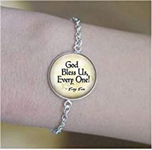 lukuhan God Bless Us Every One - Tiny Tim Quote - A Christmas Carol Jewelry - Tiny Tim Pendant - Christmas Carol Quote - Scrooge - Bah Humbug Bracelets