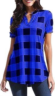 女性のtシャツの格子縞の深いネックショートスリーブの毎日のブラウス?トップ