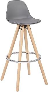 Woltu® 1 x Taburete de Bar con Respaldo, Marco de Madera Maciza Imitación de Cuero, para Cocina, Bar Gris