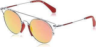 نظارة شمسية دائرية للجنسين من كالفن كلاين، عدسات بلون اصفر، طول الذراع 140 ملم، Ckj167S-020