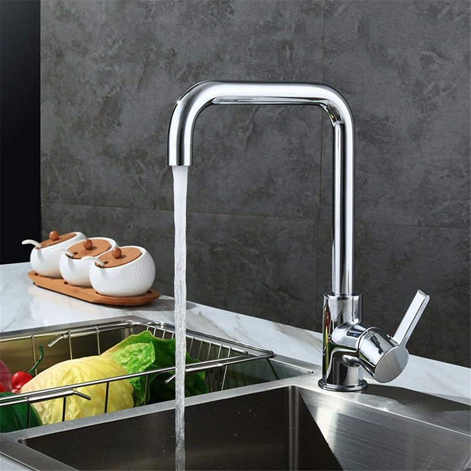 Oudan Kitchen sink taps solid brass kitchen sink tap hot and cold water tall mixer tap basin mixer tap 7 field pipe faucet mixer taps 360 degree redation (color   -, Size   -)