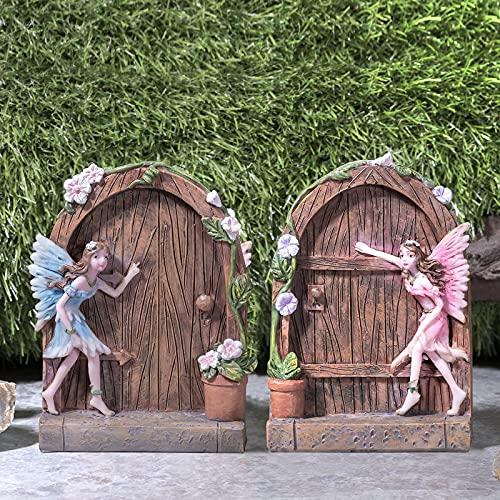 Pelle & Sol Fee Set von 2 Türen Haus Garten Ornament – Outdoor Baum Dekoration Zubehör Haus Haus