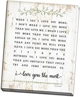 I Love You More Printed on 12x16 Canvas Wall Art