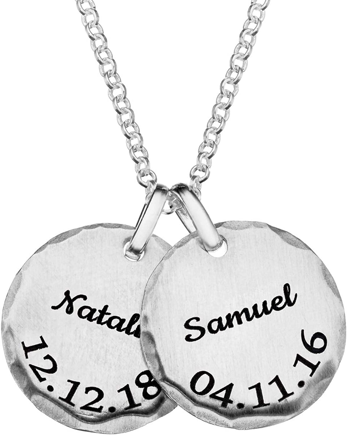 MyNameNecklace Personalized San Francisco Mall Custom Hammered i Edge Disc Necklace Quantity limited