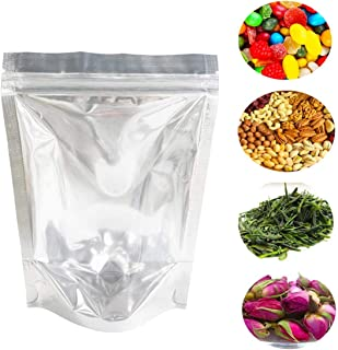 Lauren 100 PCS Clear 4Mil Reclosable Mylar Foil Ziplock Bags Stand Up Food Pouches Bags Bulk Food Storage Coffee Candy Zipper Bags 13 x 20 cm (5 x 8 Inches)