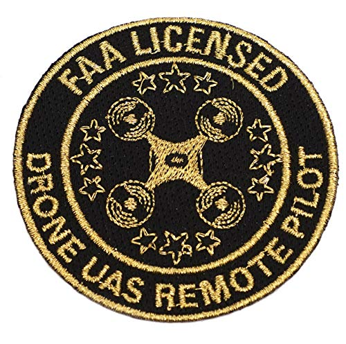 """3"""" Black & Gold Drone Accessories - FAA Licensed UAS Remote Pilot Iron On Patch"""