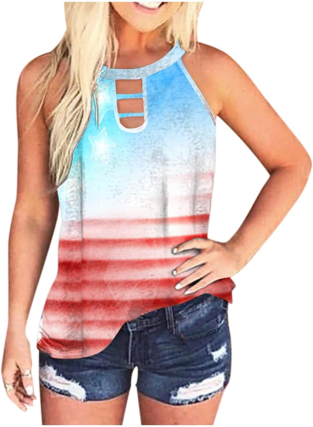 Gerichy Tank Tops for Women, Womens Sleeveless Blouses Tops Summer Casual Plus Size Loose Fit Tunic Shirts Tops Tees