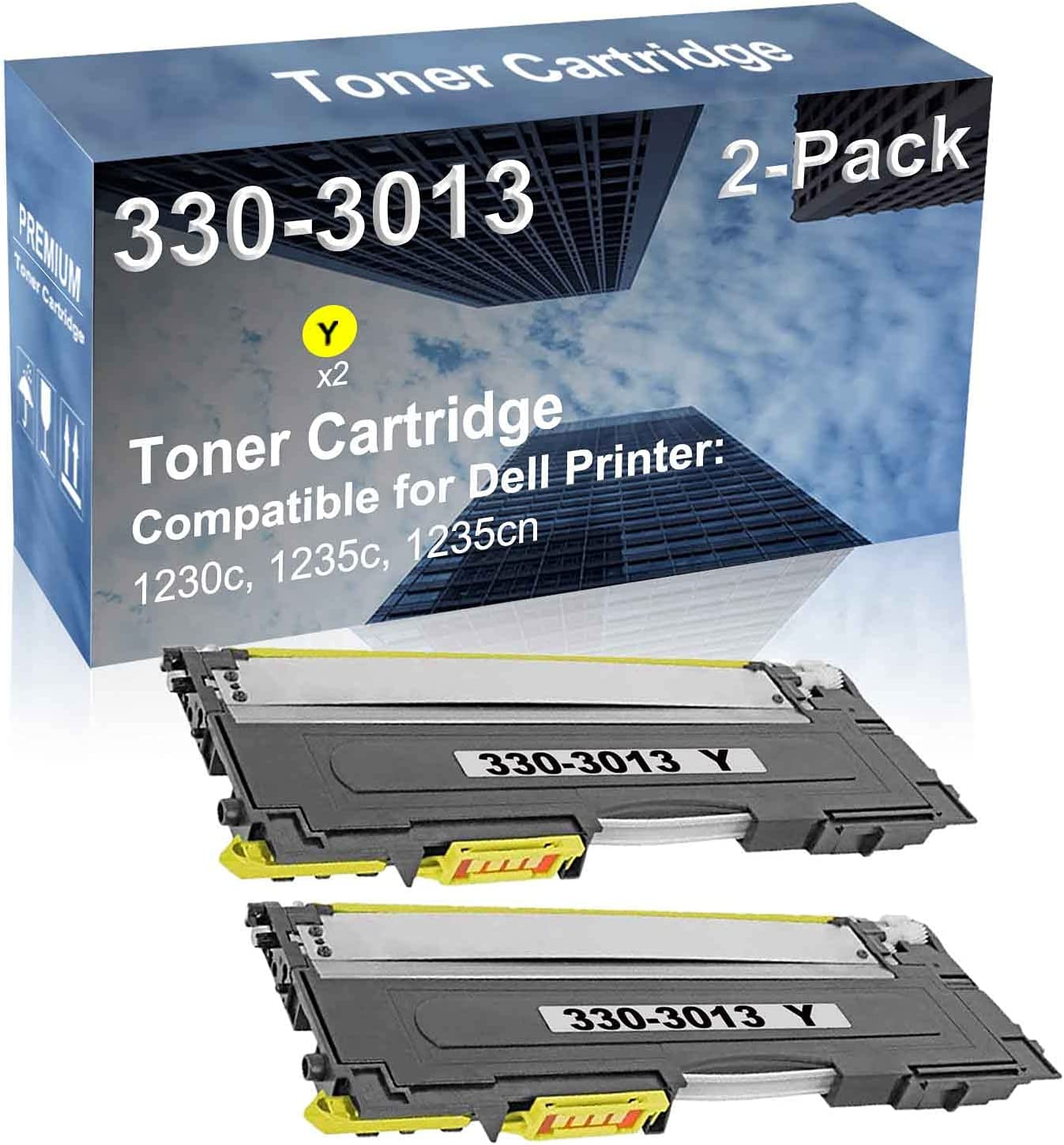 2-Pack (Yellow) Compatible High Yield 330-3013 Laser Printer Toner Cartridge Used for Dell 1230c, 1235c, 1235cn Printer
