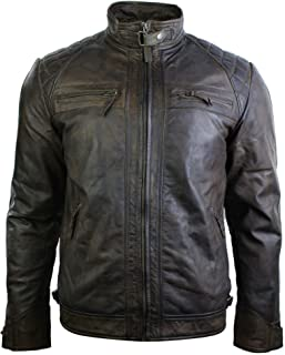 Mens Retro Style Zipped Biker Jacket Real Leather Soft Black Brown Vintage Look