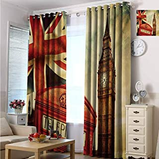 hengshu London Shading Insulated Curtain Vintage Style Symbols of London with National Flag UK Great Britain Old Clock Tower for Living Room or Bedroom W72 x L108 Inch Multicolor