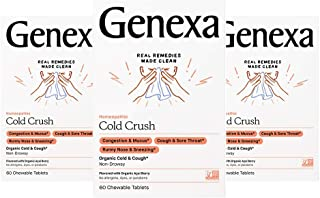 Genexa Cold Crush - 180 Tablets (3 Pack) | Certified Organic & Non-GMO, Physician Formulated, Homeopathic | Cough & Cold M...