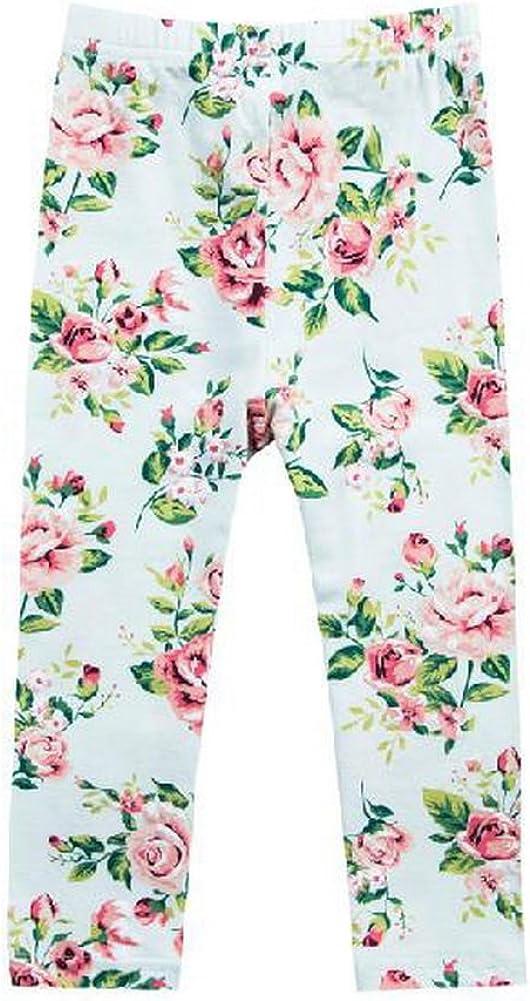 Black Temptation Little Girls Floral Print Legging Comfy White Rose Tights 3-4X