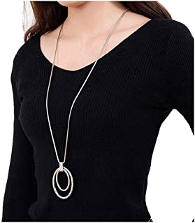 Long Sweater Chain Double Circle Pendant Necklace Bold Snake Chain Women Statement Necklace