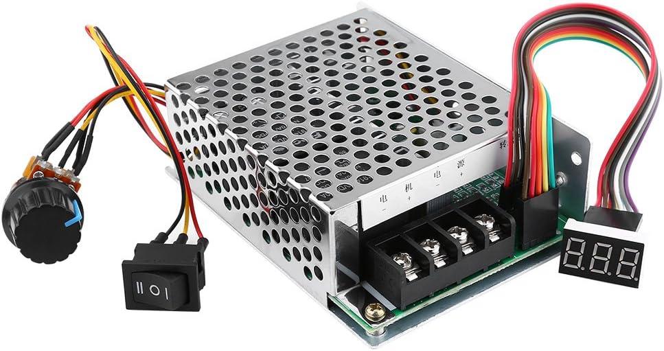 Controlador de velocidad, DC10V-55V PWM Controlador de velocidad de motor de CC cepillado CW CCW Controlador de motor de interruptor reversible con pantalla de dígitos