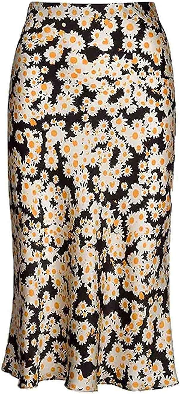 Leopard Print Skirt for Women Cheetah High Waist Silk Satin Elasticized Skirts